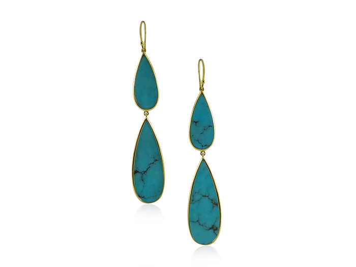 Ippolita Rock Candy Long Double Teardrop Earrings, Fashioned in 18K Yellow Gold, Featuring Turquoise