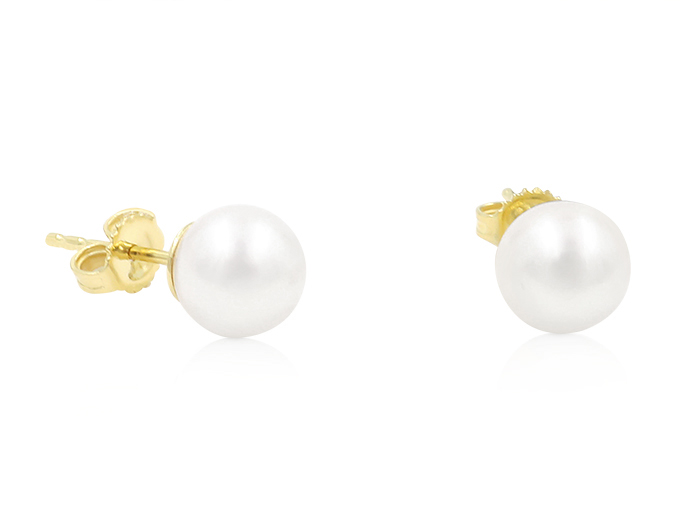 Mikimoto 18K Yellow Gold Pearl Stud Earrings, Featuring (2) 7.5-8MM A+ Quality Akoya Cultured Pearls