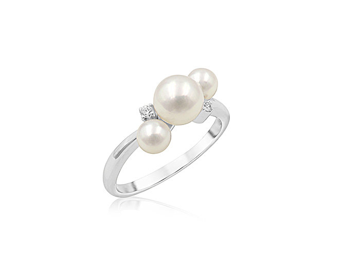 Mikimoto 18K White Gold Akoya Ring, Featuring (2) 4MM and (1) 6MM A+ Quality Akoya Cultured Pearls, Accented with 2 Round Diamonds = 0.02cts Total Weight