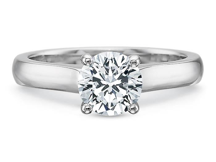 Precision Set 18K White Gold  Petite Flushfit Solitaire Engagement Ring, Center Stone Sold Separately