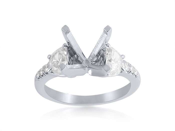 J.B. Star Platinum Diamond Engagement Ring, Featuring 2 Half Moon Diamonds and 6 Round Diamonds =.77cts Total Weight, Center Stone Sold Separately