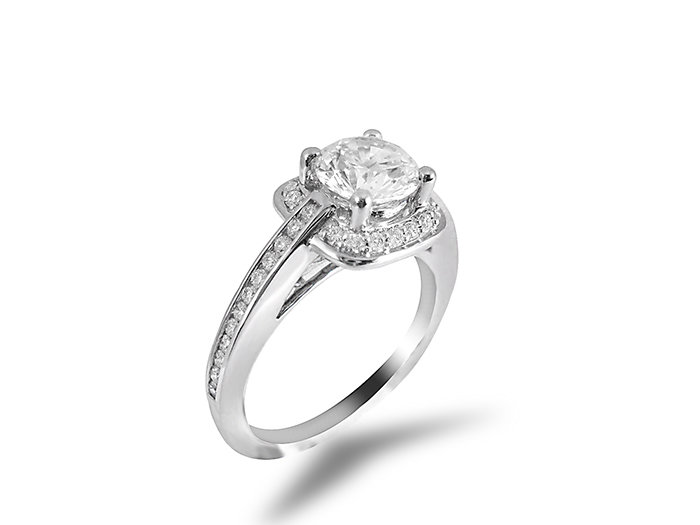 ArtCarved, this 14K White Gold Engagement Ring Features Forty Round Diamonds = .25ct. , Center Diamond Sold Separately