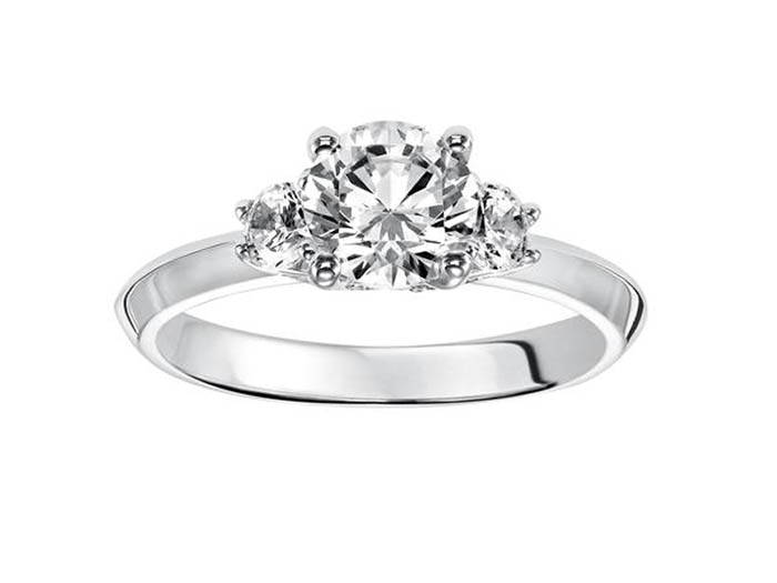 ArtCarved 14K White Gold 3 Stone Engagement Ring, .33ct.  Center Diamond Sold Separately.