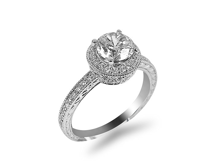 ArtCarved 14K White Gold Engagement Ring with Milgrain Edge, .33ct.  Center Diamond Sold Separately.