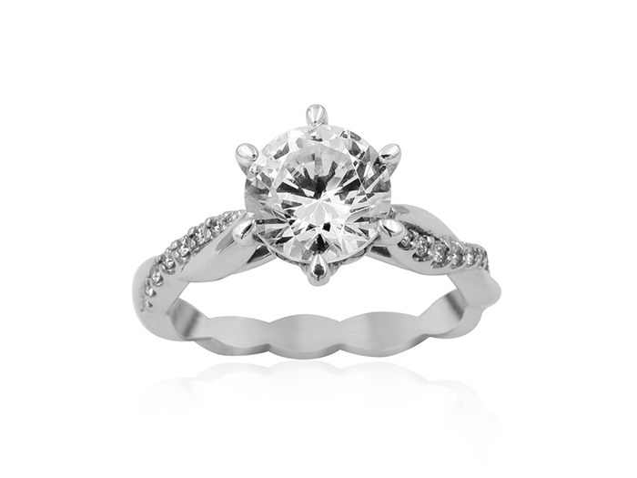 ArtCarved Twisted Shank Engagement Ring, Fashioned in 14K White Gold and Featuring Twenty-Three Round Diamonds =.13cts Total Weight, SI2 Clarity, G/H Color, Center Stone Sold Separately