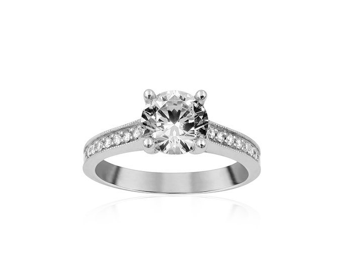 Precision Set 18K white gold engagement ring, .11ct.  Center diamond sold seperately.