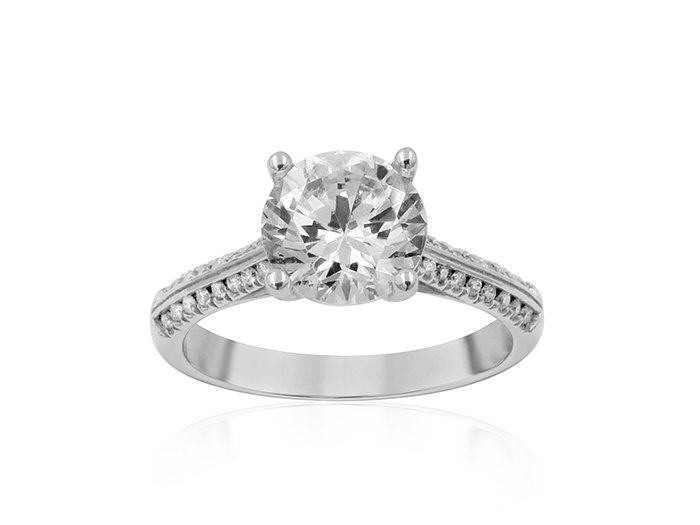 Precision Set 18K white gold engagement ring set with 2 rows of round diamonds, .30ct.  Center diamond sold seperately.