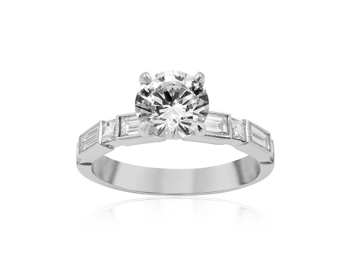 Bez Ambar Manhattan Engagement Ring, Fashioned in 18K White Gold, Featuring Four Blaze Diamonds =.18cts Total Weight and Four Baguette Diamonds =.48cts Total Weight, Center Stone Sold Separately