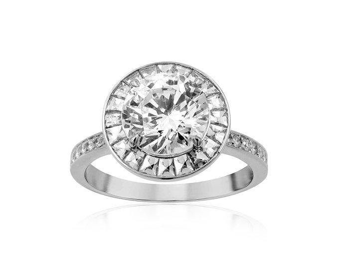 Bez Ambar Eclipse Engagement Ring, Fashioned in 18K White Gold, Featuring Twenty Blaze Diamonds and Twenty Round Pave Set Diamonds =.61cts Total Weight