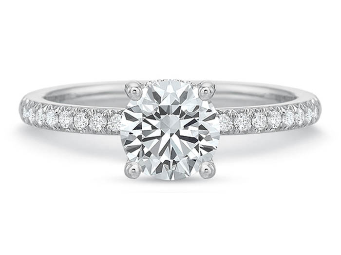 Precision Set 18K White Gold Engagement Ring, Featuring Thirty-Two Round Diamonds =.16cts Total Weight, Center Stone Sold Separately