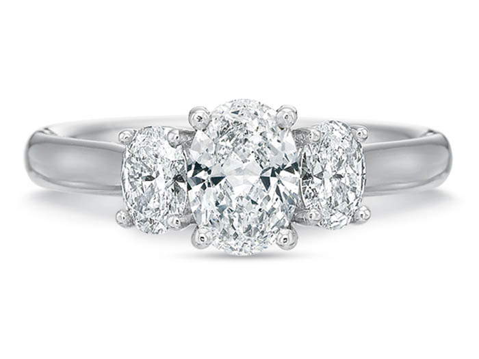 Precision Set 18K White Gold Three-Stone Diamond Engagement Ring, Featuring 2 Oval Diamonds =.50cts Total Weight, Center Stone Sold Separately