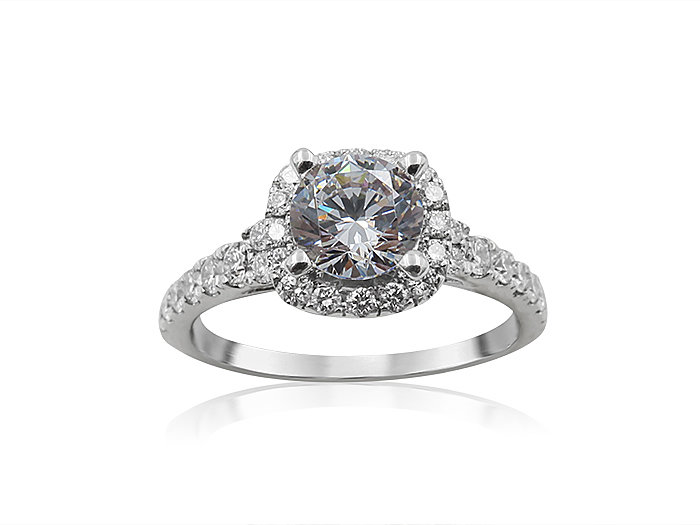 Scott Kay 14K White Gold Cushion Shaped Halo Engagement Ring, Featuring 34 Round Diamonds =.47ctw, Center Stone Sold Separately