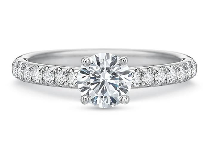 Precision Set 18K White Gold New Aire Split Shared Prong Engagement Ring, Featuring 14 Round Diamonds =.22ctw, Center Stone Sold Separately