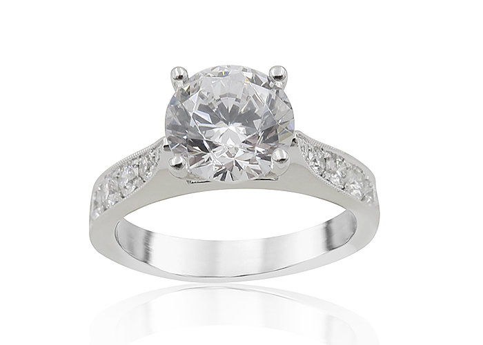 Alson Signature Collection 18K White Gold Single Row Micro Pave Set Milgrain Engagement Ring, Featuring 12 Round Diamonds =.51ctw, G-H Color, VS Clarity, Center Stone Sold Separately