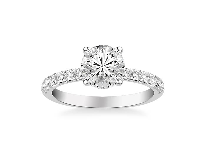 ArtCarved 14K White Gold Single Row Engagement Ring, Featuring 31 Round Diamonds =.50ctw, Center Stone Sold Separately