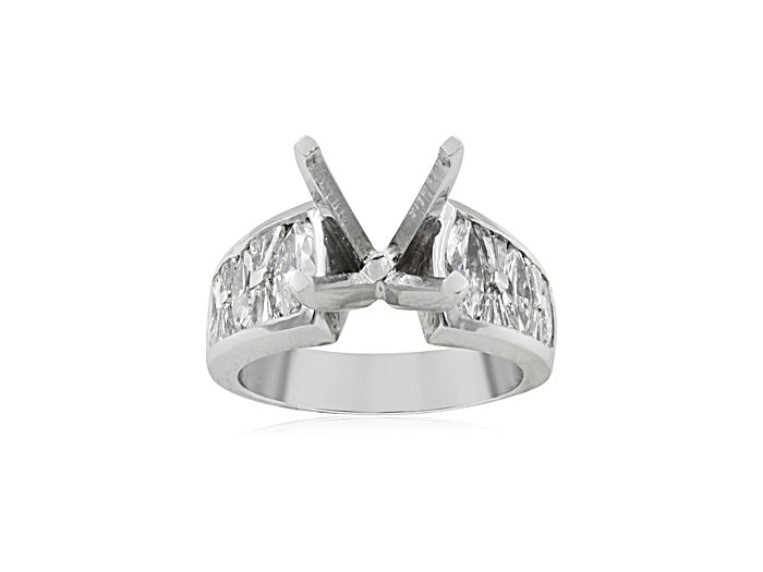 J.B. Star Engagement Ring, Fashioned in Platinum, Featuring Six Marquise Diamonds and Sixteen Tapered Baguette Diamonds =1.58cts Total Weight, Center Stone Sold Separetely