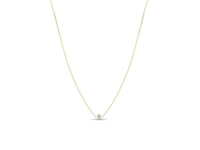 Roberto Coin 18K Yellow Gold Necklace, Featuring a .10 Carat Round Diamond