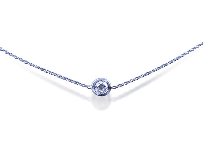 Roberto Coin Diamond Necklace, Fashioned in 18K White Gold, Measuring 18