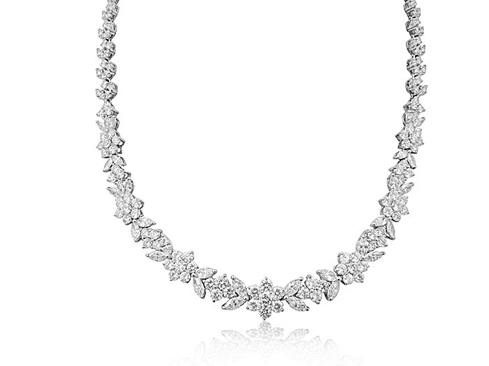 Alson Signature Collection Platinum Diamond Necklace, Featuring 28 Marquise Diamonds =4.81cts Total Weight and 240 Round Diamonds =15.03cts Total Weight