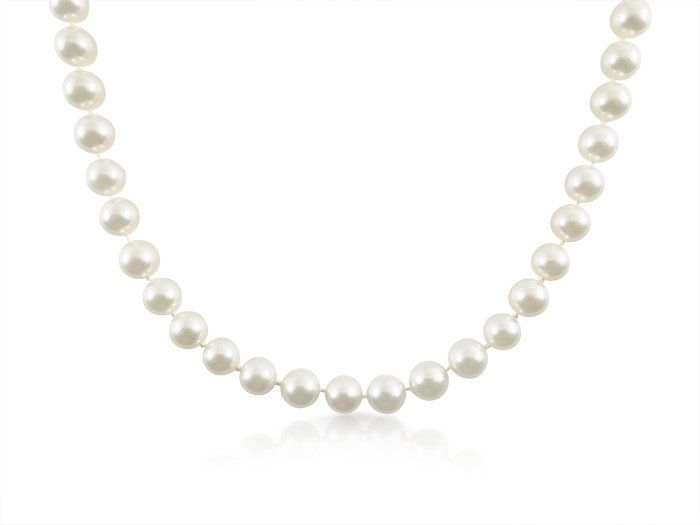 Alson Signature Collection 14K White Gold Pearl Necklace, Measuring 30