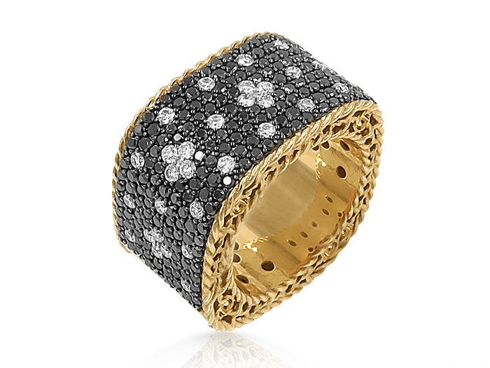 Roberto Coin 18K Rose Gold Princess Diamond Band, Featuring Black and White Round Diamonds =2.36cts Total Weight