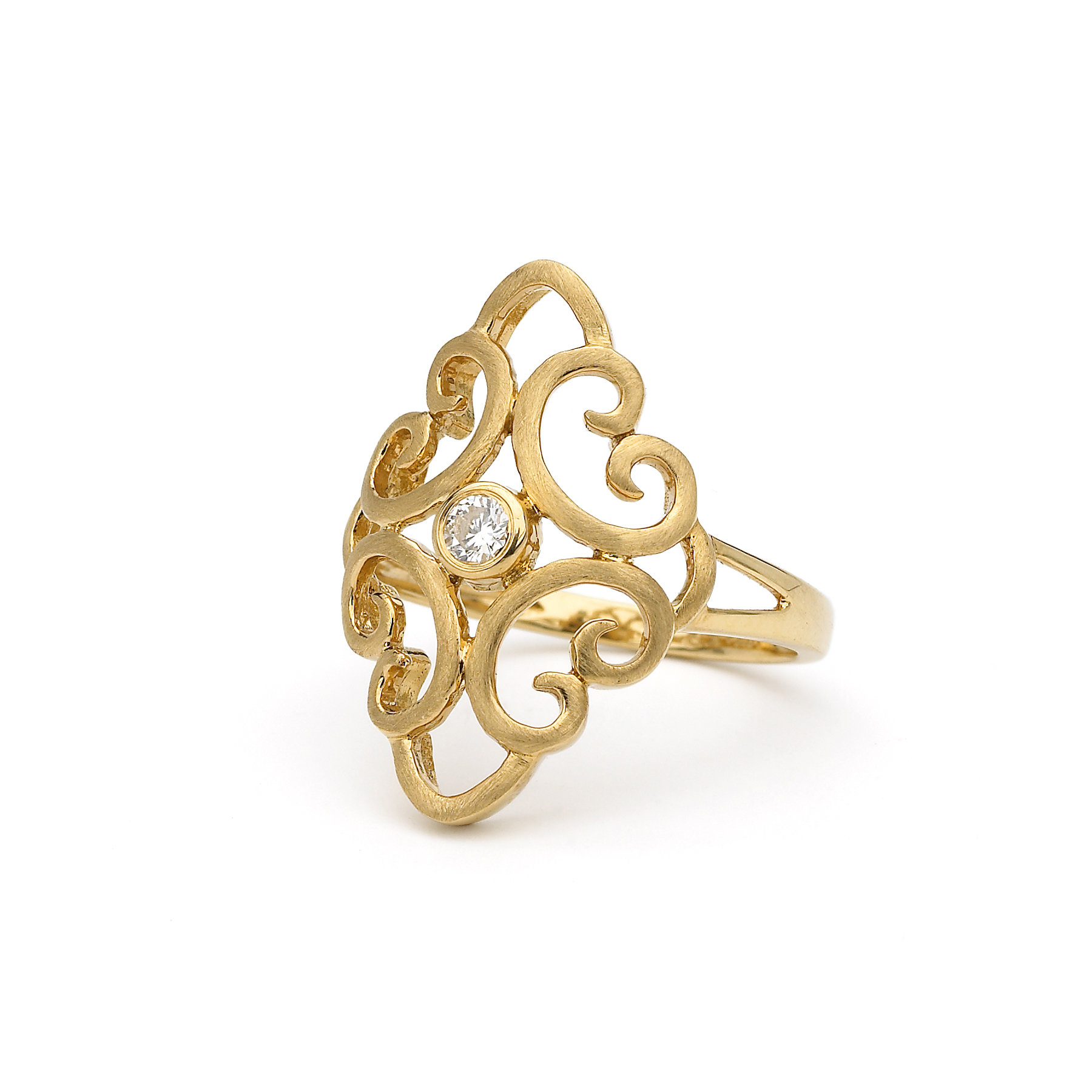 Katie Decker Ring, Fashioned in 18K Yellow Gold, Featuring a .09 Carat Round Diamond