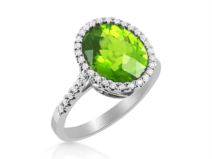 Alson Signature Collection 14K White Gold Halo Ring, Featuring a 3.90ct Oval Peridot, Accented with Forty Round Diamonds =.21cts Total Weight