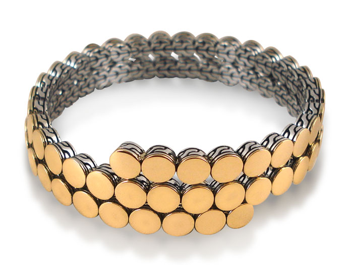 John Hardy Dot Two-Row Coil Bracelet, Fashioned in Sterling Silver and 18K Yellow Gold