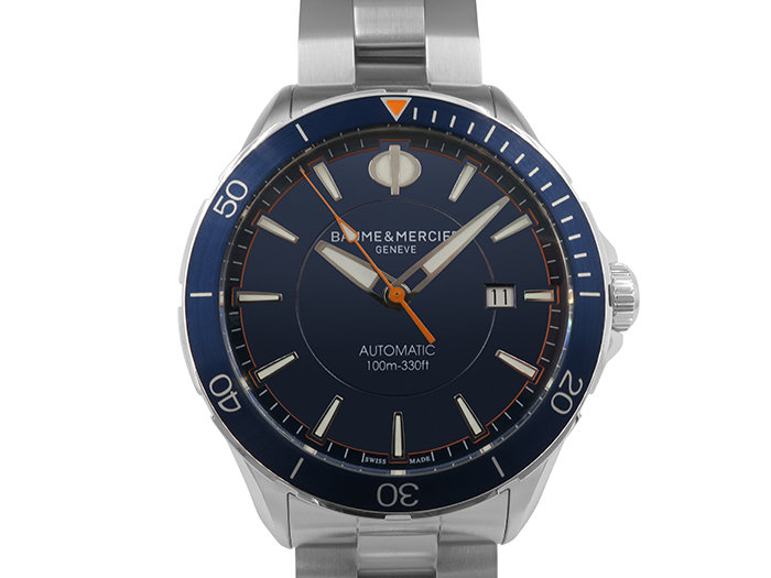 Baume & Mercier Clifton 42mm Stainless Steel Watch Featuring a Blue Dial and Automatic Movement