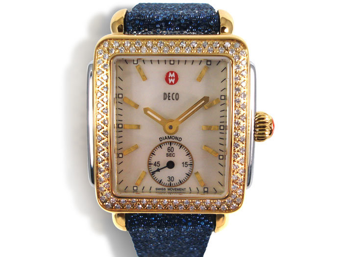 Michele Deco Steel & Gold Plated Watch, with a Diamond Case, Mother of Pearl Dial and Quartz Movement, Bracelet or Strap Sold Separately