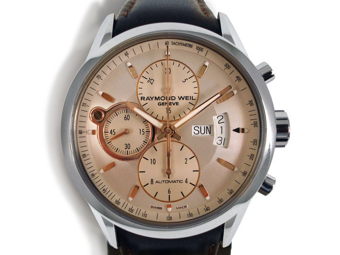 Raymond Weil Freelancer Chronograph Men's Watch, Fashioned in Stainless Steel, Featuring a Silver Dial with Rose Gold PVD Plated Accents, Brown Leather Strap and Automatic Movement