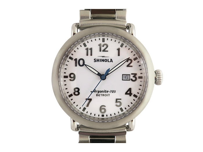 Shinola Canfield 41MM Steel Watch, with a White Dial and Quartz Movement