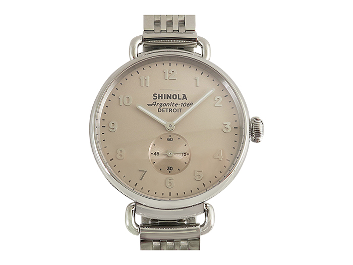 Shinola Canfield 38MM Steel Watch, with a Nude Dial and Quartz Movement