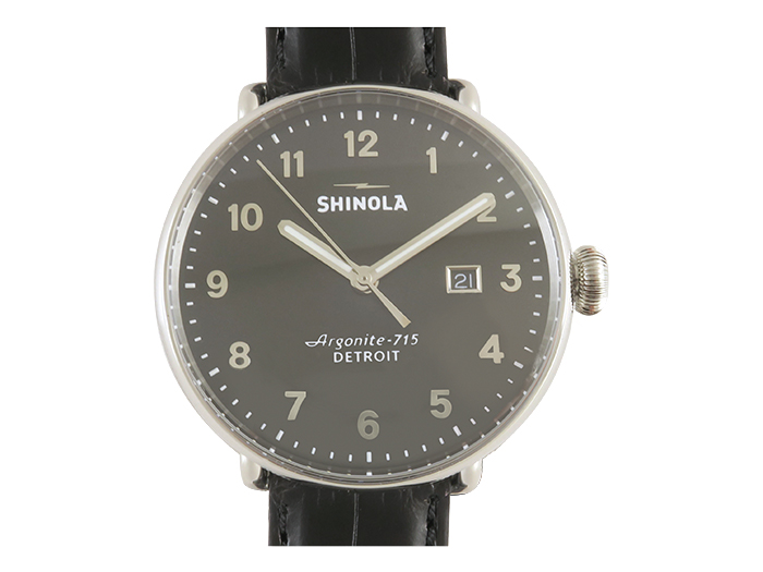 Shinola Canfield 43MM Stainless Steel Watch, Featuring a Black Dial, Black Alligator Strap and Quartz Movement