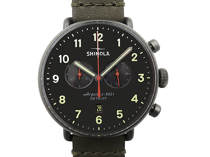 Shinola Canfield Chronograph 43MM Gunmetal PVD Watch, with a Gunmetal Grey Dial, Stone Leather Strap and Quartz Movement