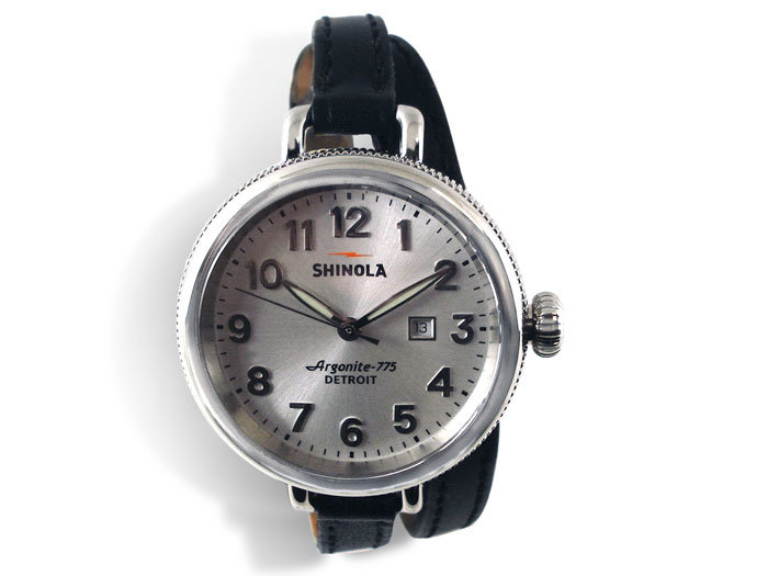 Shinola Birdy 34MM Watch, Fashioned in Stainless Steel with Shiny Plating, Featuring a Silver Dial, 8MM Black Leather Strap and Quartz Movement