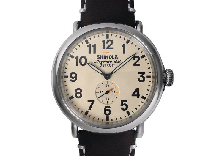 Shinola Runwell 47MM Watch, Fashioned in Stainless Steel, Featuring Cream Dial, Dark Coffee Brown Leather Strap and Quartz Movement