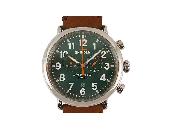 Shinola Runwell Chronograph 47MM Steel Watch, Featuring a Green Dial, Tan Leather Strap and Quartz Movement