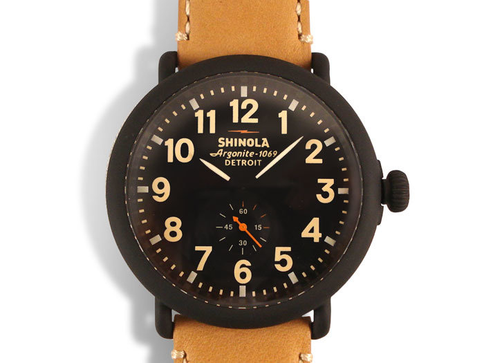 Shinola Runwell 47MM PVD Black Plated Stainless Steel Watch, Featuring a Black Dial, 24MM Natural Leather Strap and Quartz Movement