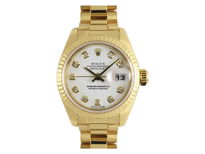 Alson Pre-Owned Rolex Datejust 26MM Watch, with an 18K Yellow Gold President Bracelet, 18K Yellow Gold Case with Fluted Bezel and White Diamond Dial, Circa 2002