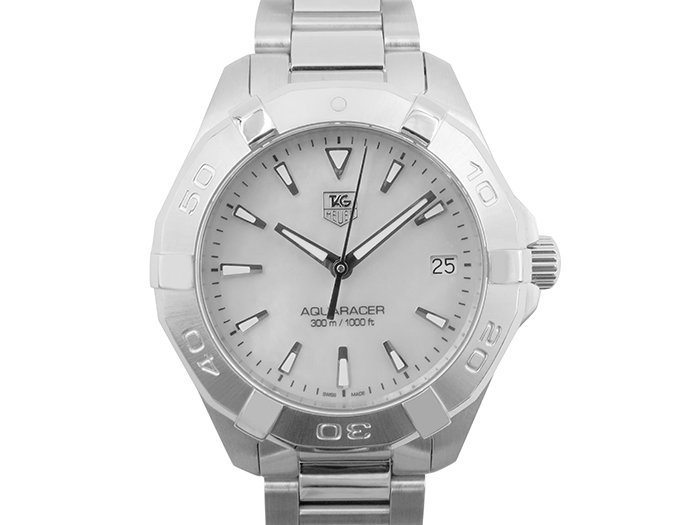 Alson Pre-Owned Tag Heuer Aquaracer 32mm Ladies Stainless Steel Watch Featuring a Mother of Pearl Dial and Quartz Movement