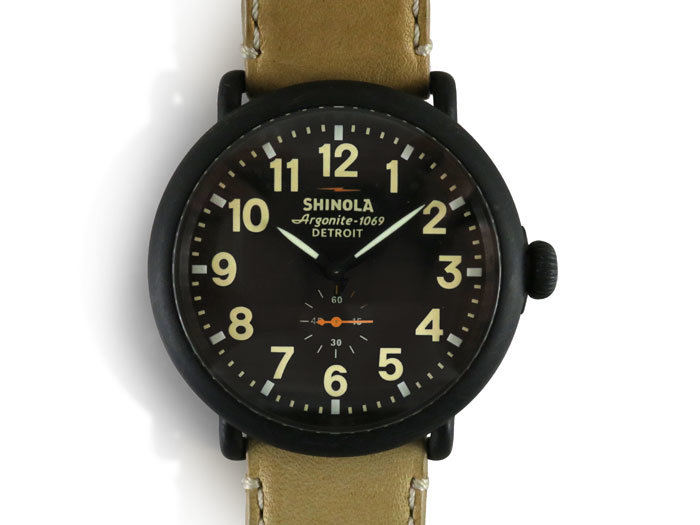 Alson Pre-Owned Shinola Runwell 47MM Watch, Fashioned in Stainless Steel with Black Plating, Featuring a Black Dial, Natural Leather Strap and Quartz Movement