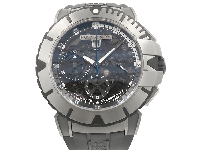 Alson Pre-Owned Harry Winston Ocean Sport Chronograph 44MM Watch, Featuring a Zalium Case, Rotating Bezel, Black Skeleton Dial, Black Rubber Strap and Automatic Movement