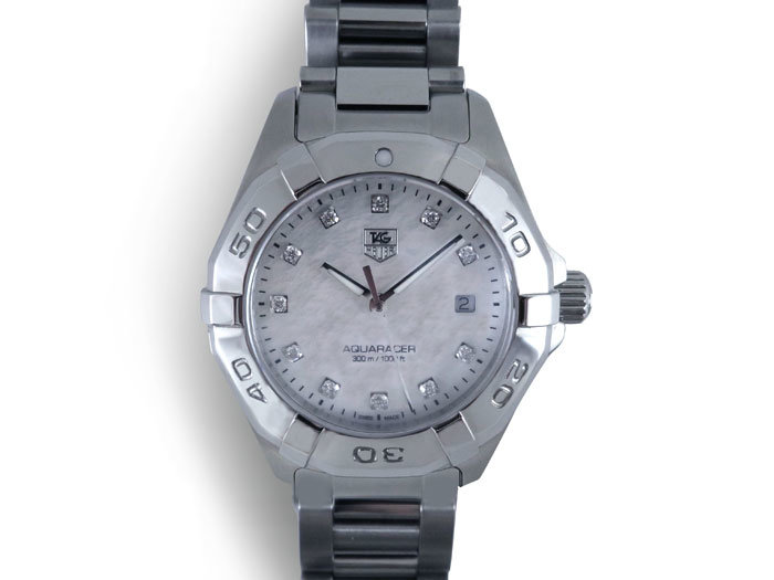 Tag Heuer Aquaracer 27MM Watch, Fashioned in Stainless Steel, Featuring a Mother of Pearl Diamond Dial and Quartz Movement