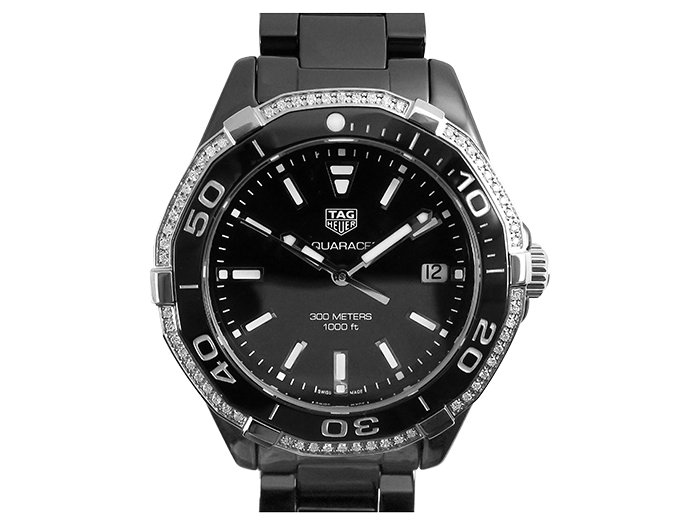 Tag Heuer Aquaracer 35MM Black Ceramic Watch, with a Diamond Bezel, Black Dial and Quartz Movement