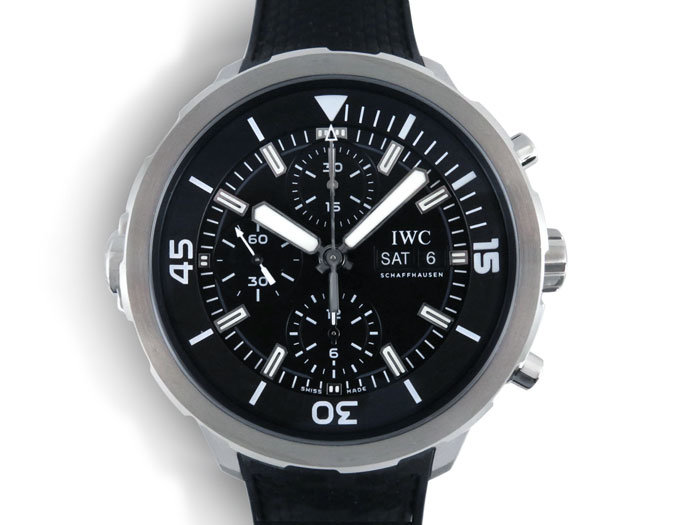 IWC Aquatimer Chronograph 44MM Watch, Fashioned in Stainless Steel, Featuring a Black Dial, Black Rubber Strap and Automatic Movement