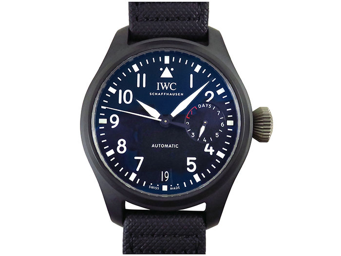 IWC Big Pilot Top Gun 46MM Watch, Featuring a Black Ceramic Case, Black Dial, Black Calfskin Strap, Stainless Steel Buckle and Automatic Movement