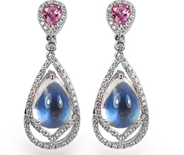 Spark Earrings in blue moonstone and pink sapphire with diamonds
