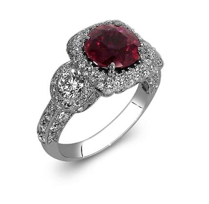 JB Star Ruby and Diamond Ring