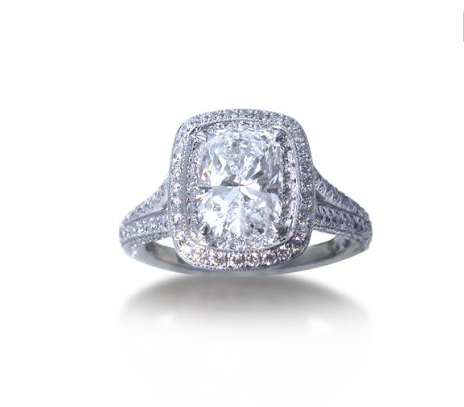JB Star Cushion Cut Engagement Ring in a Split Shank Mounting